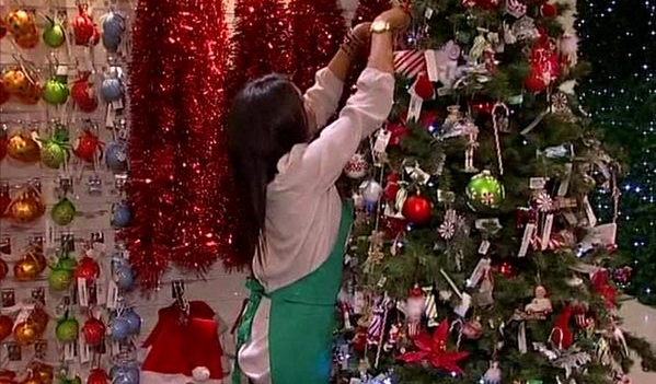 Decorating in store at Christmas color image