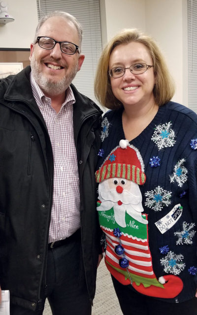 randy and kylie in ugly sweaters at Open House 2017